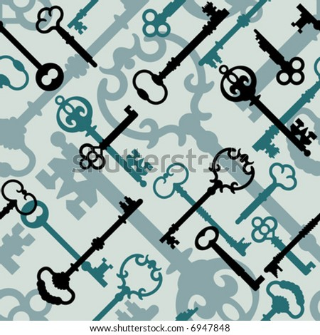 A seamless vector pattern of old-time skeleton keys in aqua blue-green.
