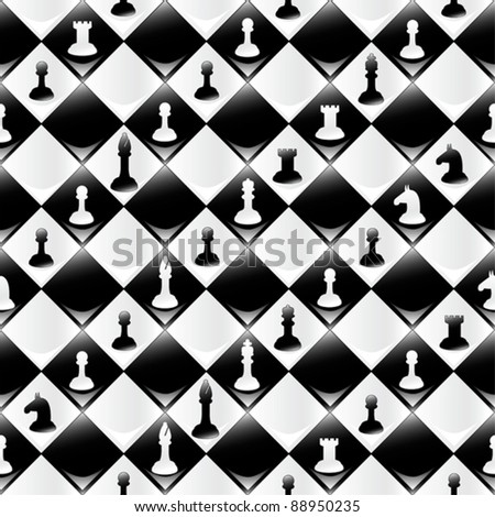 A seamlessly repeatable glossy chessboard background with chess pieces. Eps 8 Vector.