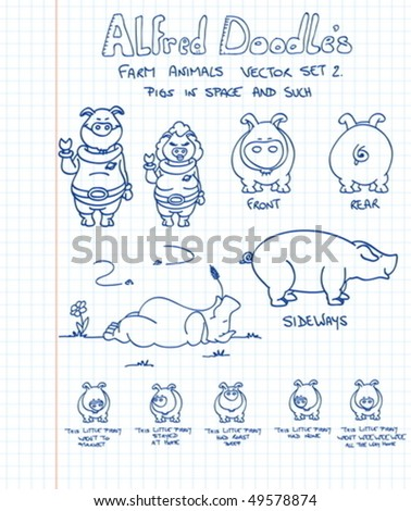 A second set of farm animals in doodle style: pigs - stock vector