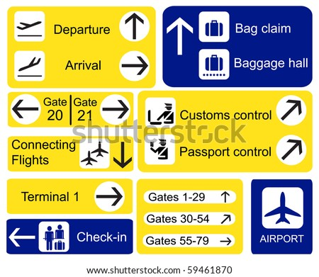 A selection of Airport signs. EPS10 vector format - stock vector