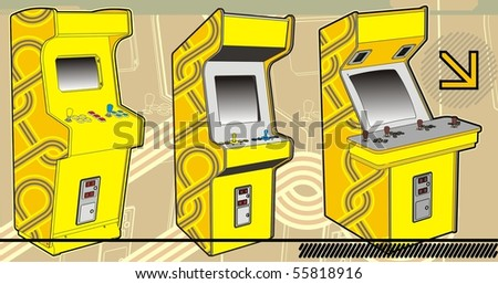 A selection of arcade machines in yellow. - stock vector
