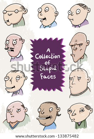 A selection of cartoon stupid faces