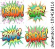 A Selection of Comic Book Exclamations and Action Words, Ka-boom, Boff, Zonk, Crackle. - stock vector