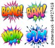 A Selection of Comic Book Illustrations Bang, Bam, Wow, Splat - stock vector