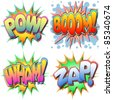 A Selection of Comic Book Illustrations Pow, Boom, Wham, Zap - stock vector