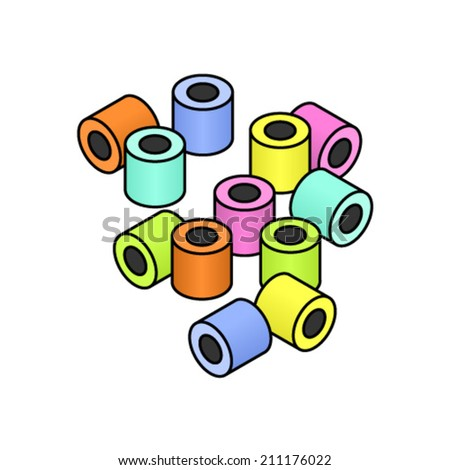 A selection of cylindrical / round colourful liquorice / licorice all-sorts. Individual pieces; can be rearranged. - stock vector