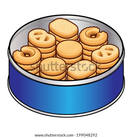 A selection of danish butter cookies in a blue tin. - stock vector