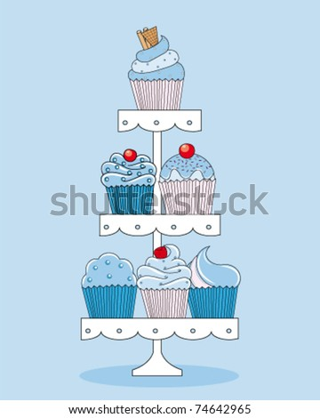 A selection of delicious cupcakes and muffins presented on multi-tiered display stand. - stock vector
