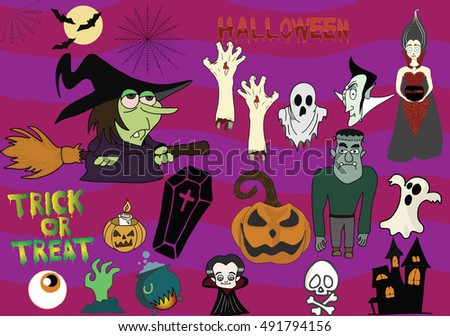 A selection of digitally hand drawn images to design any spooky event