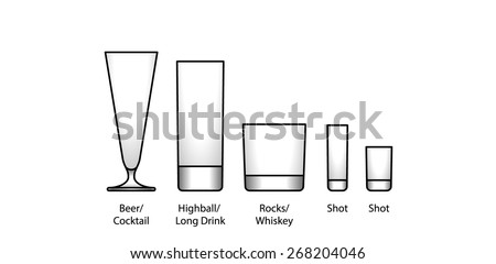 A selection of glasses: beer, cocktail, highball, long drink, whiskey/rocks, and shot. With labels. - stock vector
