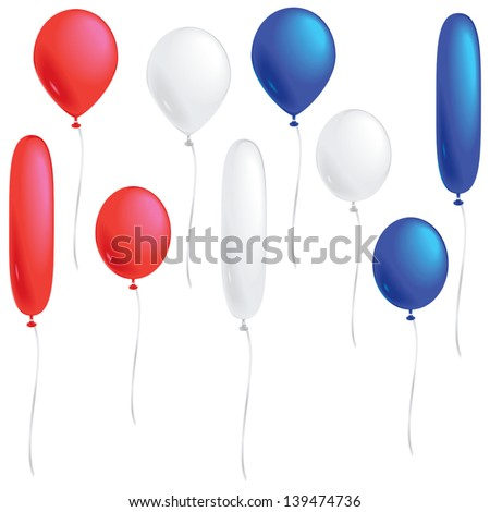 A selection of red, white and blue balloons isolated on white. - stock vector