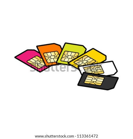 A selection of SIM cards of different colours. - stock vector