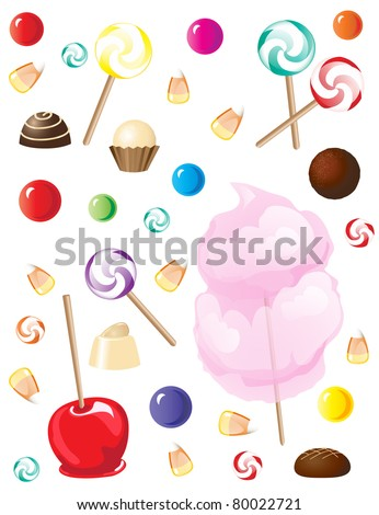 A selection of sweets and candies isolated on white background. EPS10 vector format