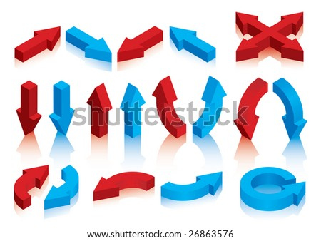A selection of three dimensional arrows in red and blue in all variations. Shadows are on a separate layer. - stock vector