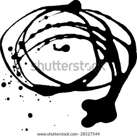 A serias, ink blots in black and white - stock vector