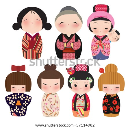 A series of cute japanese kokeshi characters. - stock vector