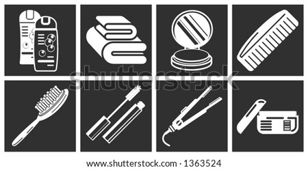 a series of design elements or icons relating to beauty, cosmetics makeup, hair care etc. - stock vector