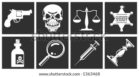 a series of design elements or icons relating to law, order, police and crime - stock vector