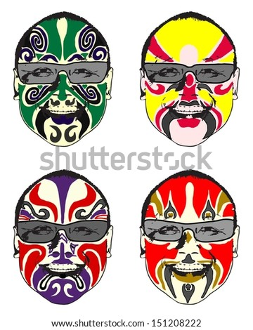 A series of exotic colorful oriental painted face.  - stock vector