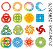 A series of geometric graphic elements, all based on rings and arcs. - stock photo