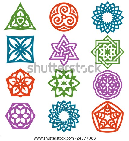 A series of graphic elements based on geometric patterns. - stock vector