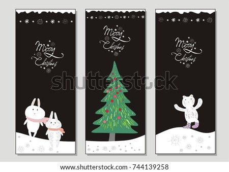 series vertical christmas cards depicting christmas stock vector