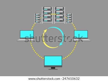 A Server Farm or data center concept - stock vector