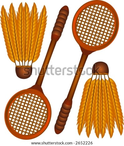 A set of a badminton icons.