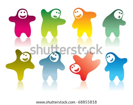 A set of a cartoon funny characters with different emotions. - stock vector