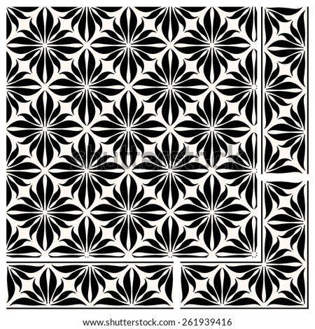 A set of a seamless vector pattern, vertical and horizontal borders and a corner element. Traditional Russian floral design for a frame or background. Monochrome folk style pattern. - stock vector