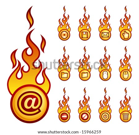A set of a vector fireball icons with computer theme. - stock vector