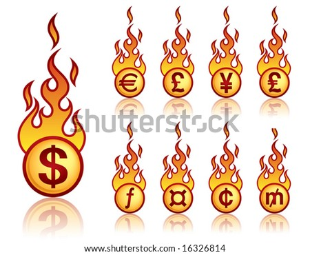 A set of a vector fireball icons with currency theme. - stock vector