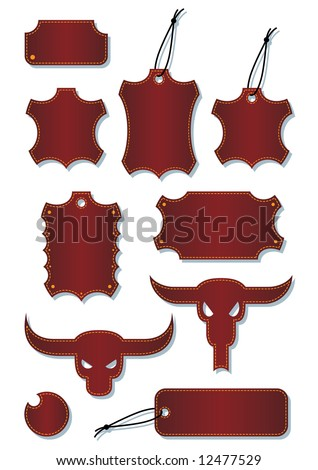 A set of a vector leather lables. - stock vector