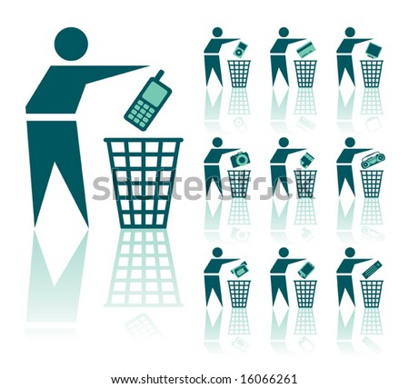 A set of a vector throwing out icons, digital theme. - stock vector