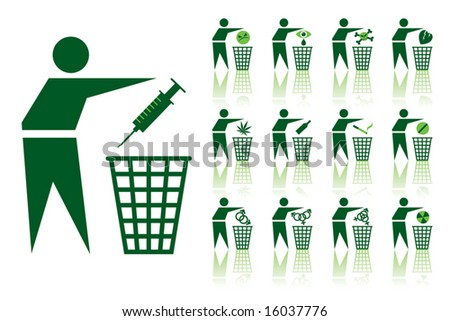 A set of a vector throwing out icons, health theme. - stock vector