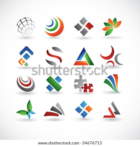 A set of 16 abstract design elements in various colors - stock vector