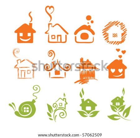 A set of abstract houses - stock vector