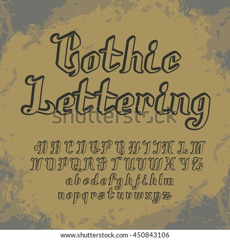 a set of alphabetic characters in the Gothic style to work with lettering. after some simple editing in the appropriate editor, you can make the font - stock vector