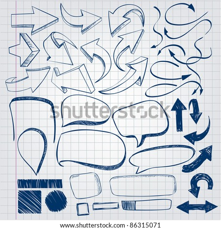A set of arrows and labels in the style of hand-drawing - stock vector