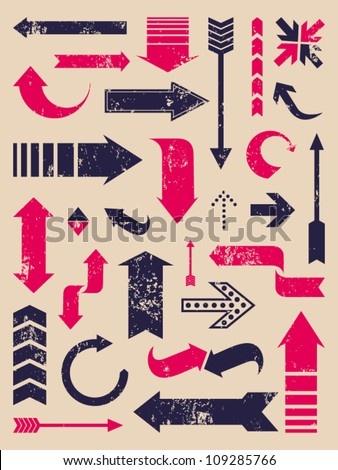 A set of arrows in vintage style. - stock vector