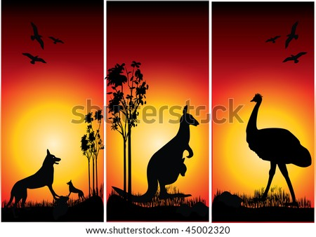 a set of Australian animals in the sunset - stock vector