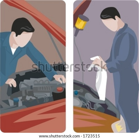 A set of 2 auto mechanics checking the engine of cars. - stock vector