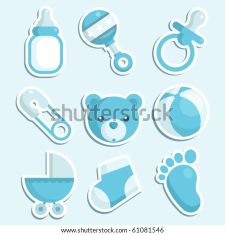 A set of baby boy icons. - stock vector