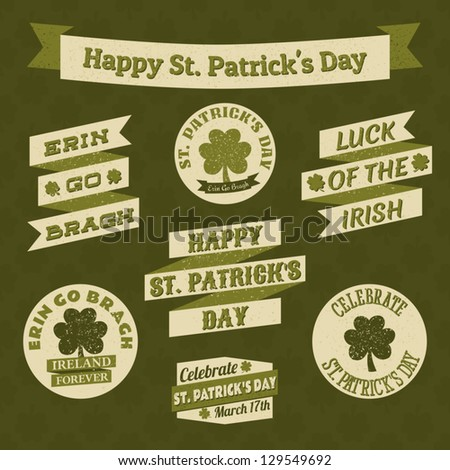 A set of banners and badges for St. Patrick's Day. - stock vector