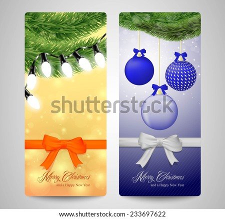 A set of beautiful Christmas card with Christmas decoration.