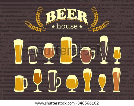 A set of beer glasses and beer mugs icons. Vintage style. A poster and a bar menu. Vector design elements for printing and web - stock vector