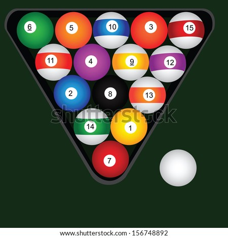 A set of billiard balls. Vector illustration. - stock vector