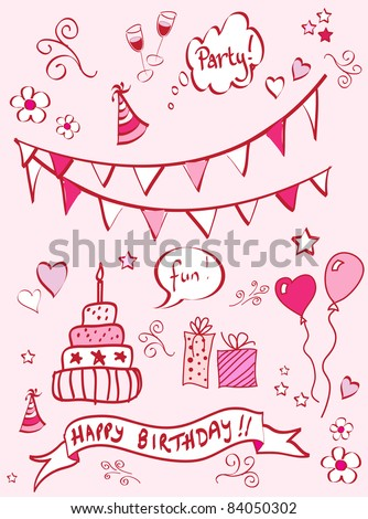 A set of birthday themed doodles. EPS10 vector format. - stock vector