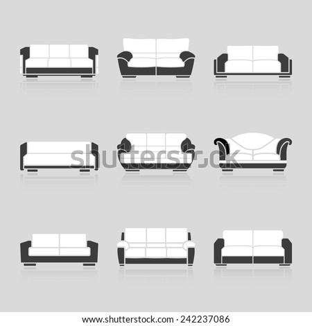 A set of black and white sofas on a white background. Vector - stock vector
