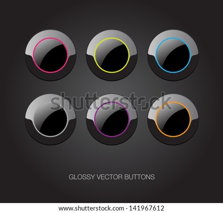 A set of black vector glossy plastic buttons with colorful details - stock vector